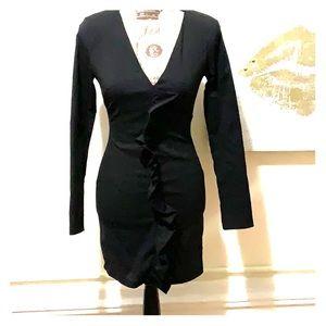 Trafaluc Zara black dress with raffles size XS
